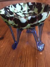 Kralik multicolour glass Tripod vase with blue legs Art Deco Bohemian Czech