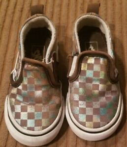 VANS TODDLER SIZE 6 CHECKERED SHINY RAINBOW and BROWN EX CONDITION KIDS