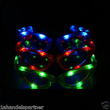 1a Disco LED Party Feier Brille SET 3 Stk Junggesellenabschied Schlagerparty Neu