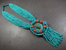 N5379 Multi strand Dangle resin glass bead bone Tribal handmade Necklace India