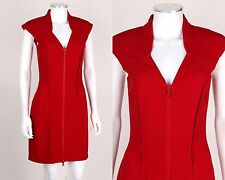 PRADA Red Cap Sleeve Exposed Seam Zipper Front Sheath Dress Cocktail Size 40
