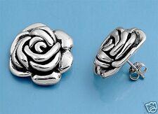 USA Seller Rose Stud Earrings Sterling Silver 925 Flowers Oxidized Jewelry Gift