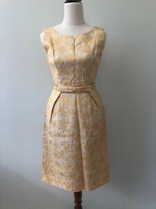 Handmade Gold Size 8 Sleeveless Knee Length Zip Sheath Dress Clip Belt Vintage