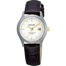 Pulsar White Dial Titanium Case Brown Leather Strap Ladies Watch PXT921X1
