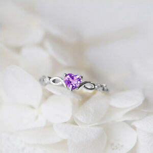 Exquisite Simple Ring Fashion Heart Crystal Gold/Silver Color Women Blue Finger