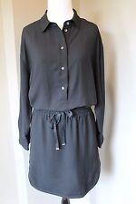 NWT J Crew Drapey Oxford Crepe Shirtdress in BLACK Sz Medium M B8442 $138