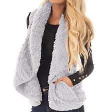 HOT Womens Lapel Gilet Outwear Vest Faux Fox Fur Sleeveless Jacket Coat Outwears
