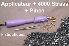 Applicateur a Strass Violet + 4000 Strass thermocollant Hotfix + Pince #9921#