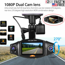 HD 1080P Dual Lens Car DVR Dash Cam Video Camera Recorder Rearview Mirror USA