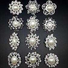 12pc/lot Mixed Silver Pearl Rhinestone Crystal Brooches Pins DIY Wedding Bouquet