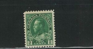 CANADA-MNH-K.G.V ADMIRAL ISSUE 2c DIE 1 #107 VF GREEN SEE PHOTO
