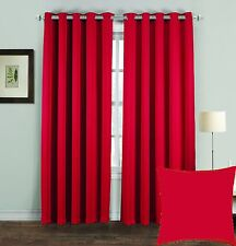 """Thermal Blackout Curtains Pair Eyelet Ring Top Draught Heat Loss Ready Made 46 X 54"""" Red"""