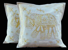 Indian Elephant Cushion Cover Set of 2 Cotton Aari Work Handmade Home Decor New