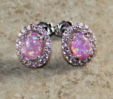 SILVER Elegant Pink Fire Opal & Pink Kunzite Oval Stud Earrings Woman Gift