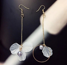 "4"" Vintage Natural Flower White Sea Shells Fashion Drop Dangle Earrings Gift P12"