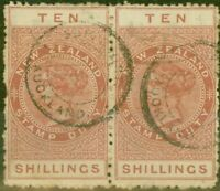 New Zealand 1882 Stamp Duty 10s Brown & Red SGF19 Good Used Pair