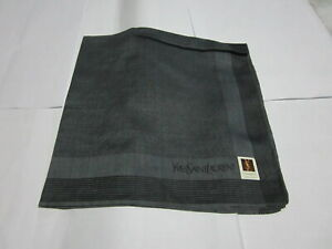 "USED DARK GRAY  STRIPED PATTERN COTTON 18"" HANDKERCHIEF POCKET SQUARE FOR MEN"