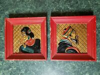 Coppercraft Of Hollywood 40s Hand Painted Oriental Framed Raised Relief Art no 1