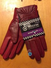 Isotoner Signature Gathered Stretch Leather Tech Really Red ML $60 # bb13a