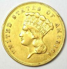 1857 Indian Three Dollar Gold Coin ($3) - AU Details - Rare Coin!