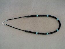 Auth.Native American Indian Jet Beads/ Blue Turquoise Heishi Necklace/Choker