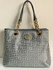 NEW! TOMMY HILFIGER GRAY SATCHEL SHOPPER GOLD CHAIN TOTE BAG PURSE $108 SALE