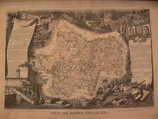 ancienne carte departement saone et loire 71 atlas levasseur epoque 1856 gravure