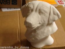 Labrador Dog HEAD BUST CERAMIC BISQUE cleaned baked and READY TO PAINT