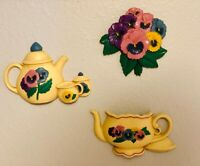Vintage Burwood Teatime Pansy Flower Teacup Teapot Wall Hanging Plaques