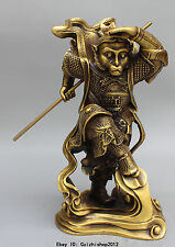 "13"" Chinese Bronze Buddhism Sun WuKong Monkey King golden cudgel Buddha Statue"