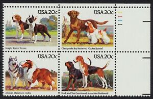#2101a 20c American Dogs, Plate Block [1111 UR] Mint **ANY 4=FREE SHIPPING**