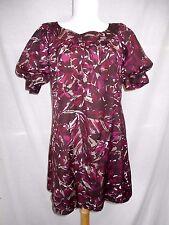 nwt Trina Turk A-Line Shift Dress Sz 4 Silk Abstract Burgundy Gray Above Knee
