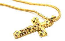 Goth gioiello Gesù Crocifisso Collana con Ciondolo Croce Hip Hop Placcato Oro 18K