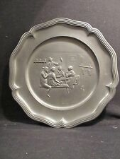 Vintage German Pewter Plate Or Wall Hanging With Great Ingraved Pub Scene