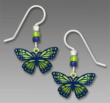 Sienna Sky Earrings 925 Sterling Silver Hook Green Dark Blue Fantasy Butterfly