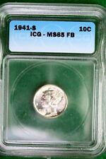 1940 - S ICG MS65FB Silver Mercury Dime!!!!  #B10479