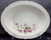 "Vintage Poinciana China Ware Oval Vegetable Bowl 10.25"" Purple Flower Gold Trim"