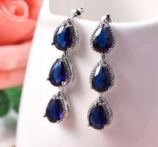 18K / 18ct White Gold Blue Sapphire Drop Dangle Earrings