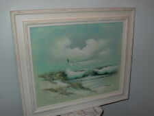Framed Oil on Canvas Seascape Seagulls Painting Signed Mcgregor