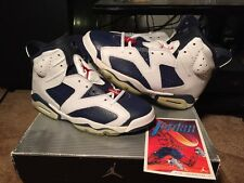 New Air Jordan 6 Olympics Midnight Navy Varsity Red White Size 8 DS 2000