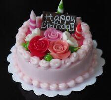 Dollhouse Miniatures Birthday Strawberry Rose Cake Food Deco Barbie Blythe 30 mm