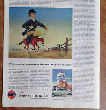 1956 Gulf Gulfpride H D Select Oil Ad Who Stole Horsepower Mrs Murphy's Charger?