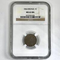 1864 Indian Head Cent Bronze NGC MS62 BN *Rev Tye's* #0003149