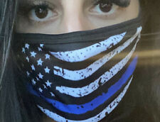 USA Thin Blue Line Flag Face Mask Made In USA
