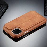 For iPhone 11 Pro Max XR XS MAX 6S 7 Plus Genuine Leather Wallet Flip Case Cover