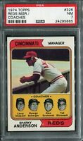 1974 Topps #326 Reds Mgr./Coaches Sparky Anderson PSA 7 NM
