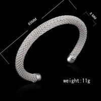 925 Silver Plated Men Women Bangle Open Cuff Solid Bracelet Fashion Jewelry Gift