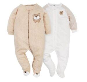 Gerber Baby Unisex 2-Piece Tan Bear Zip Front Sleep 'N Plays Size 3-6M