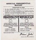 1964 Johnson Vs Goldwater Ballot North Carolina