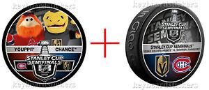 2021 Stanley Cup Semifinals Vegas Golden Knights 2 Puck Set - Dueling, Mascot